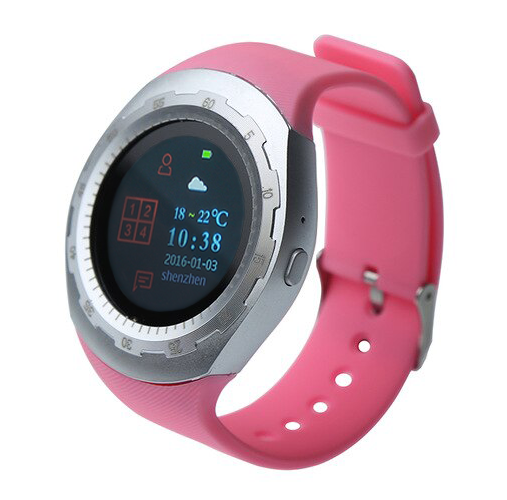 CARCAM SMART WATCH A7 - SILVER, Pink silicone